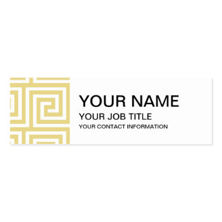 Custard Yellow and White Greek Key Pattern Pack Of Skinny Business Cards