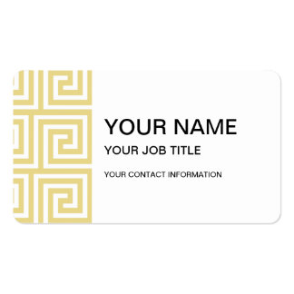 Custard Yellow and White Greek Key Pattern Pack Of Standard Business Cards