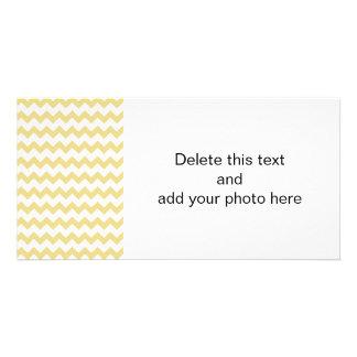 Custard Yellow White Chevron Pattern Personalised Photo Card