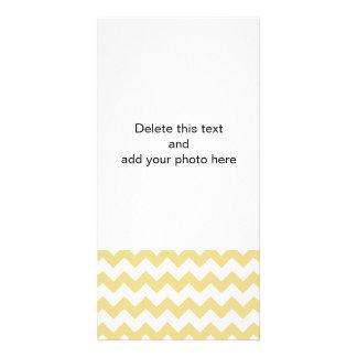 Custard Yellow White Chevron Pattern Photo Card