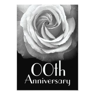 "Custom 00th Anniversary Silver White Rose 5"" X 7"" Invitation Card"