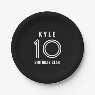 Custom 10th Year Birthday Custom Color B01 7 Inch Paper Plate