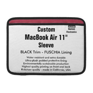 "Custom 11"" MacBook Air Sleeve (H) Black & Fuschia"