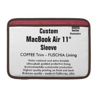 "Custom 11"" MacBook Air Sleeve (H) Coffee & Fuschia"