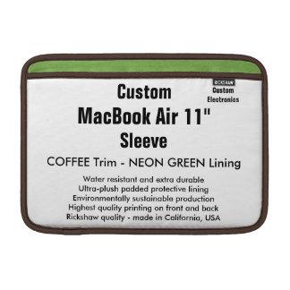 "Custom 11"" MacBook Air Sleeve (H) Coffee & Green"