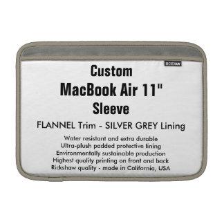 """Custom 11"""" MacBook Air Sleeve (H) Flannel, Silver"""