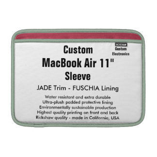 "Custom 11"" MacBook Air Sleeve (H) Jade & Fuschia"