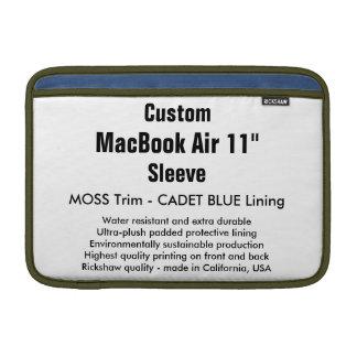 "Custom 11"" MacBook Air Sleeve (H) Moss, Cadet Blue"