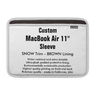 """Custom 11"""" MacBook Air Sleeve (H) Snow & Brown"""