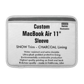 "Custom 11"" MacBook Air Sleeve (H) Snow, Charcoal"
