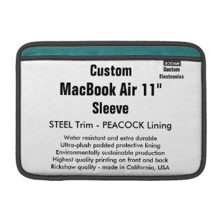 """Custom 11"""" MacBook Air Sleeve (H) Steel & Peacock"""