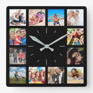 Custom 12 Instagram Family Photo Collage Square Wall Clock