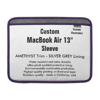 """Custom 13"""" MacBook Air Sleeve (H) Amethyst, Silver"""