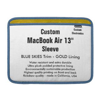"Custom 13"" MacBook Air Sleeve (H) Blue & Gold"