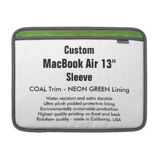 "Custom 13"" MacBook Air Sleeve (H) Coal & Green"