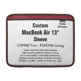 "Custom 13"" MacBook Air Sleeve (H) Coffee & Fuschia"