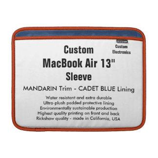 """Custom 13"""" MacBook Air Sleeve (H) Mandarin & Blue"""