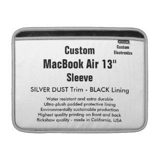 """Custom 13"""" MacBook Air Sleeve (H) Silver & Black"""