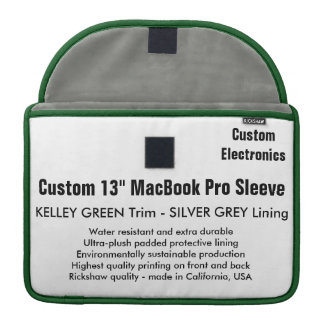 "Custom 13"" MacBook Pro Sleeve - Green & Silver"