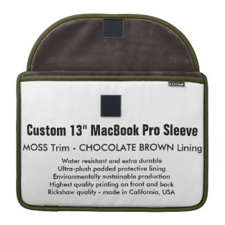 "Custom 13"" MacBook Pro Sleeve - Moss & Brown"