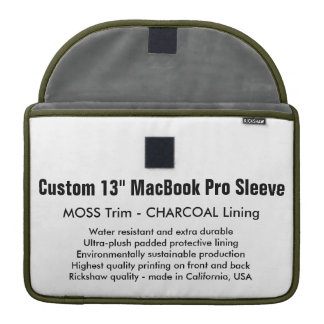 "Custom 13"" MacBook Pro Sleeve - Moss & Charcoal"
