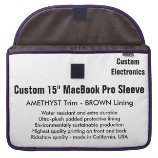 """Custom 15"""" MacBook Pro Sleeve - Amethyst & Brown"""