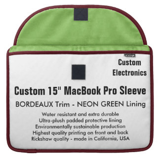 "Custom 15"" MacBook Pro Sleeve - Bordeaux & Green"
