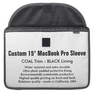 "Custom 15"" MacBook Pro Sleeve - Coal & Black"