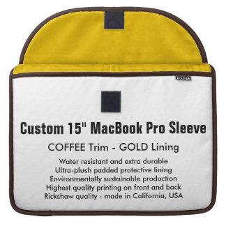"Custom 15"" MacBook Pro Sleeve - Coffee & Gold"