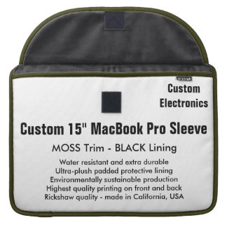 "Custom 15"" MacBook Pro Sleeve - Moss & Black"