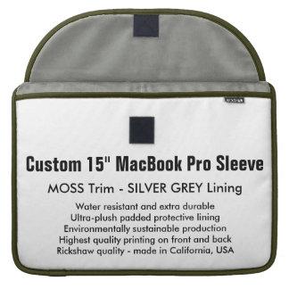 "Custom 15"" MacBook Pro Sleeve - Moss & Silver Grey"
