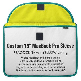 "Custom 15"" MacBook Pro Sleeve - Peacock & Yellow"