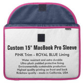 "Custom 15"" MacBook Pro Sleeve - Pink & Royal Blue"