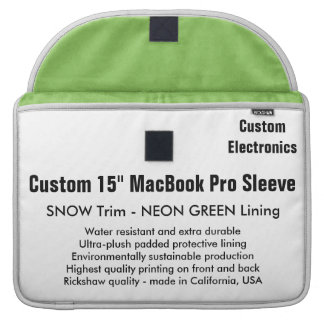 "Custom 15"" MacBook Pro Sleeve - Snow & Green"