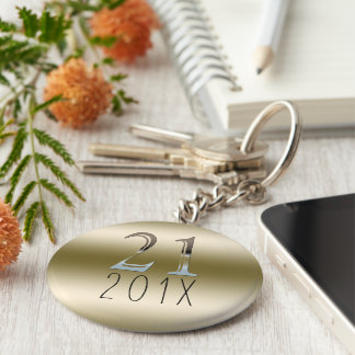 Custom 21st Birthday Gift | Gold Silver Number 21 Key Ring