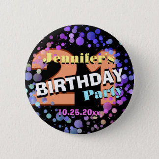 Custom 21st Birthday Party 6 Cm Round Badge