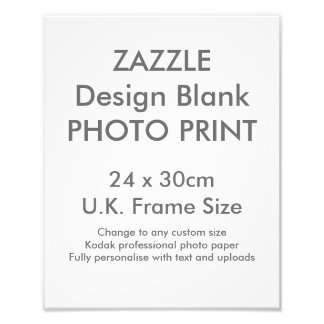 Custom 24 x 30cm Photo Print  UK Frame Size
