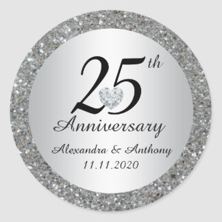 Custom 25th Wedding Anniversary Envelope Seals