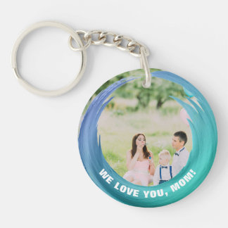 Custom 2 Photos | For Mom Aqua Turquoise Key Ring