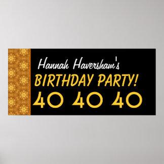 Custom 40th Birthday or Any Year Gold Stars Print