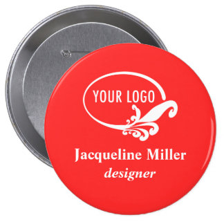"""Custom 4"""" Huge Name Button Pin for Employees"""