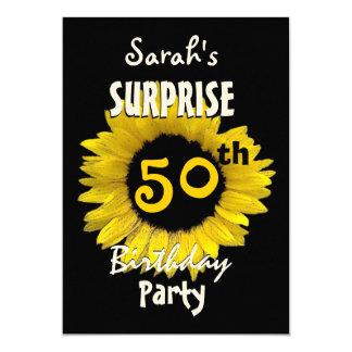Custom 50th SURPRISE Birthday Yellow Sunflower 13 Cm X 18 Cm Invitation Card