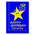 Custom 5th Birthday Stars for Girls Card