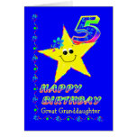 Custom 5th Birthday Stars for Great Granddaughter Greeting Card