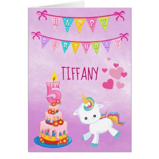 Custom 5th Birthday Unicorn Card