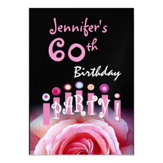 Custom 60th Birthday Party Metallic Card