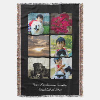 Custom 6 Photo Collage Vertical Mosaic Picture Throw
