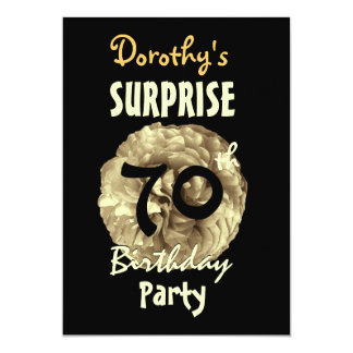 "Custom 70th SURPRISE Birthday Party W842 5"" X 7"" Invitation Card"
