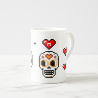 Custom 8-Bit Day of the Dead Lovers Mug