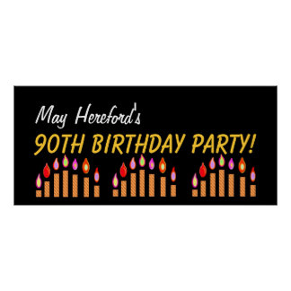 Custom 90th Birthday or Any Year Gold Candles V3 Poster